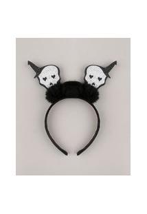 Tiara Feminina Halloween Caveiras Com Glitter E Pompom Preta
