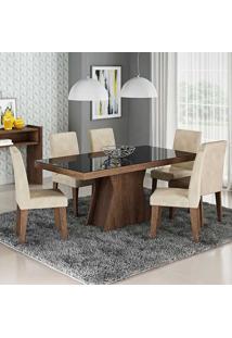 Conjunto De Mesa Para Sala De Jantar C/ Vidro Temperado E 6 Cadeiras Olivia/Milena - Cimol - Marrocos / Suede Bege