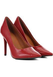 Scarpin Ala Salto Alto Fino - Feminino-Vermelho Escuro