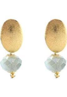 Brinco Barbara Strauss Serres Em Cristal Céu Revestido Em Ouro 18K - Feminino-Azul Claro