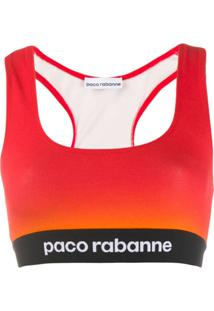 Paco Rabanne Blusa Color Block Cropped - Vermelho