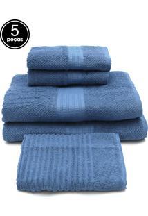 Jogo De Banho Buddemeyer 5 Pçs Frape Azul 70X135