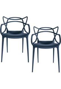 Kit 2 Cadeiras Decorativas Para Sala De Jantar Amsterdam F01 Preta - M