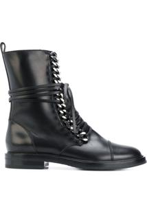 Casadei Ankle Boot 'City Rock' De Couro - Preto