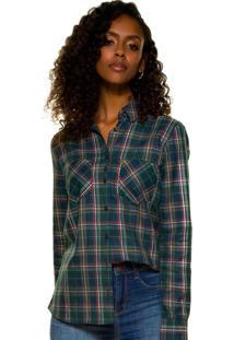 Camisa Principessa Kimberly Xadrez Verde Militar
