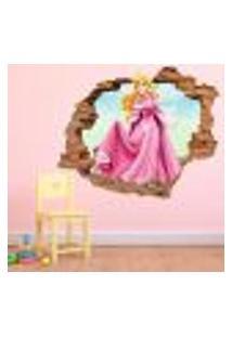 Adesivo De Parede Buraco Falso 3D Princesa Aurora - Eg 100X122Cm
