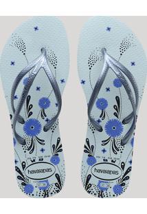 8fa177e85a ... Chinelo Feminino Havaianas Com Estampa Floral Azul Claro