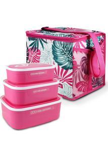 Conjunto Bolsa Térmica Quadrada E Kit De 3 Peças Potes Para Alimentos Fitness Jacki Design Pink