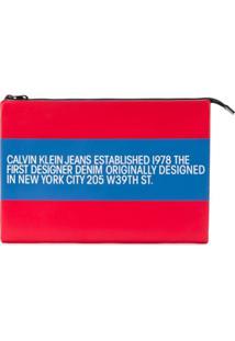 Calvin Klein Jeans Est. 1978 Bolsa Listrada De Couro Com Logo - Vermelho