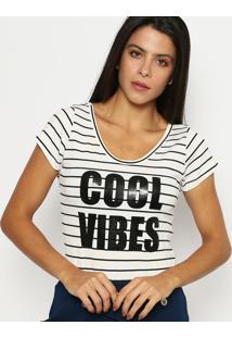 Body Listrado ''Cool Vibes''- Branco & Preto- ÁGua VãGua Viva