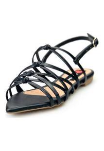 Sandalia Love Shoes Rasteira Bico Folha Trançado Nó Básica Preto