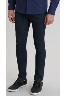 Calça Jeans Skinny Resinada Azul Escuro