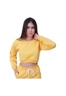 Blusa Moletom Cropped Plus Size Manga Longa Amarelo
