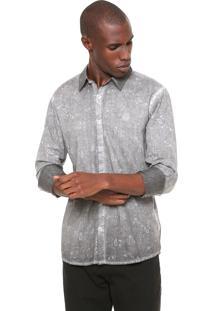 Camisa Polo Wear Reta Floral Cinza
