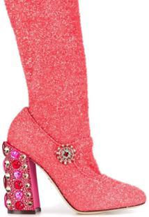 Dolce & Gabbana Bota Com Aplicações No Salto - Rosa