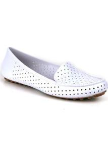 Mocassim Tag Shoes Pvc Colors Feminino - Feminino-Branco