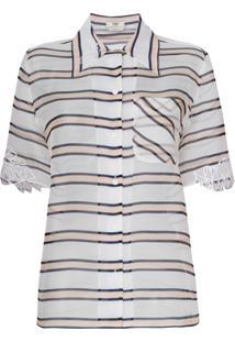 Fendi Blusa Translúcida Listrada - Branco
