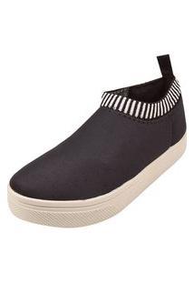 Tênis Meia Rosa Chic Calçados Calce Fácil Slipper Shoes Elástico Preto
