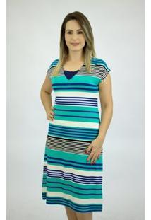 Vestido Pau A Pique Listrado - Feminino-Azul