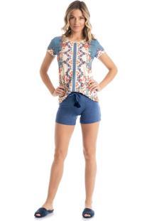 Pijama Safira Curto - P501 Azul/P