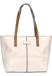 Bolsa Shopping Bag Croco Com Detalhe Recorte Wj Feminina - Feminino-Branco