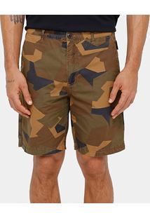 Bermuda Ellus Bolso Faca Camuflada Geométrica Masculina - Masculino