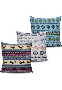 Kit 3 Capas Almofadas Decorativas Etnicas 45X45Cm - Multicolorido - Dafiti