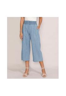 Calça Jeans Feminina Pantacourt Cintura Super Alta Azul Médio
