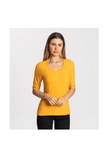 Blusa Feminina Canelada Básica Rovitex Amarelo