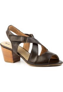 Sandália Feminina 284 Em Couro Doctor Shoes - Feminino-Café
