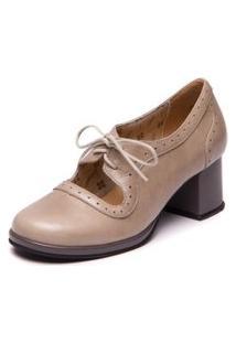 Sapato Retro Com Salto Grosso - Pistache / Cinza 5867