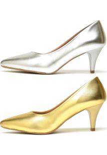 Kit 2 Pares De Scarpin Casual Salto Baixo Metalizado Ellas Online Dourado - Tricae