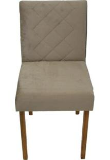 Cadeira Bruna Chenille Bege Base Mel 46Cm - 59345 - Sun House