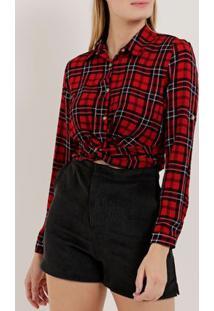Camisa Cropped Xadrez Manga Longa Feminina Vermelho