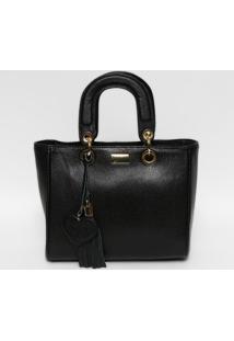 Bolsa Em Couro Com Bag Charm- Preta & Dourada- 22X30Gregory