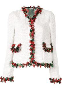 Dolce & Gabbana Jaqueta De Tweed Com Acabamento De Babados - Branco