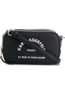Karl Lagerfeld Bolsa Transversal Address Com Logo - Preto
