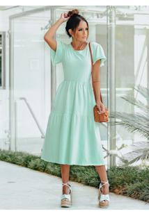 Vestido Midi Verde Menta Com Babados