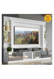 """Rack Estante C/ Painel Tv 65"""" E Espelho Oslo Multimóveis Branco/Preto"""