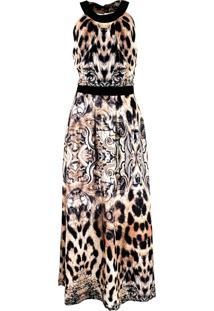 Vestido Infinity Fashion Longo Onça Preto