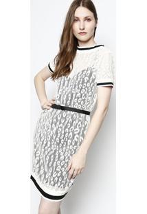 Vestido Em Renda - Off White & Preto- Ahaaha