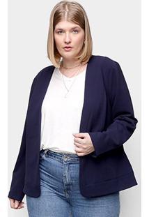 Blazer Kedio Sem Gola Plus Size Feminino - Feminino-Azul