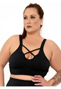 Top Plus Size Com Strappy Sem Bojo Preto