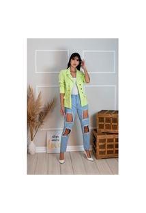 Blazer Feminino Botões Dourados Estilo Balmain Top Qualidade Acinturado Moderna Verde