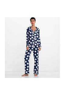Pijama Americano Manga Longa Poá Com Calça   Lov   Azul   G