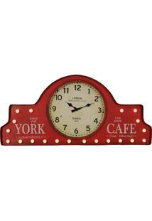 9097e35ff40 ... Relógio De Parede Vintage Decorativo York De Metal Com Luzes