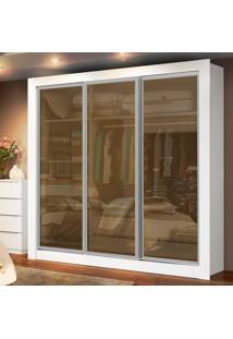 Guarda-Roupa Casal Texas 3 Portas De Vidro Branco Madesa