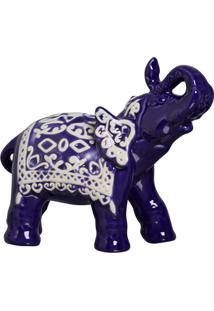 Escultura Decorativa Elefante Indiano Azul 20X24 Cm