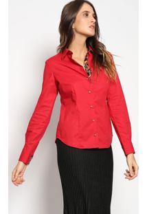 Camisa Com Bordado- Vermelha & Pretavip Reserva