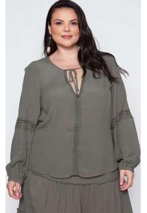 Blusa Almaria Plus Size Pianeta Creponada Verde Verde
